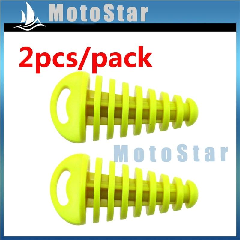 2 Pcs//fluorescent yellow PVC Air-bleeder Plug Wash Plug for 2-Stroke ATV Quad Pit Dirt Bike Scooter Moped Motorcycle KTM CR KX RM YZ 80cc 125cc 150cc 250cc Exhaust Silencer Muffler Wash Plug
