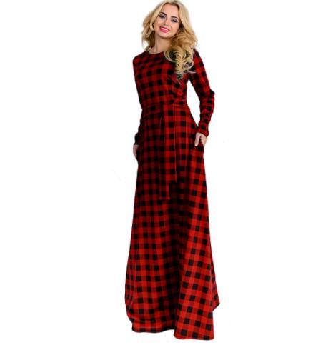 Grande taille Plaid imprimer femmes à manches longues robe 2018 printemps robes de grande taille dames robes de soirée avec ceinture femmes vêtements