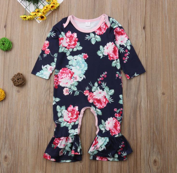 0fdc081b053d Newborn Baby Girl Clothing Flower Ruffle Romper Long Sleeve Cotton ...