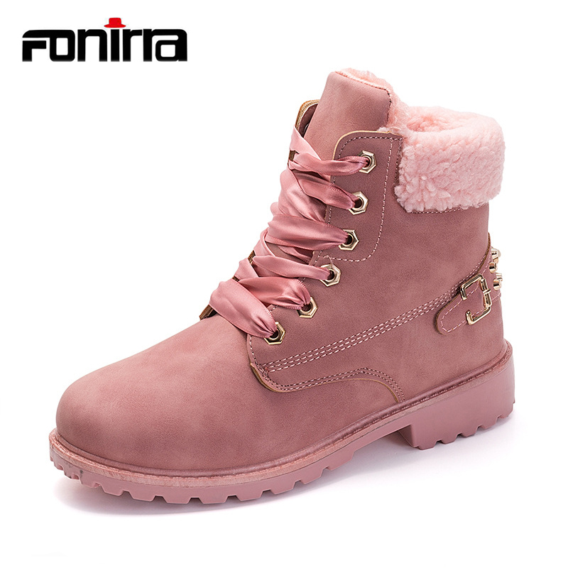 FONIRRA Winter Pink Lace Up Women Boots Casual Plush Flat Ankle Boots Botas Round Toe Lady Shoes Comfort Warm Snow Boots 031