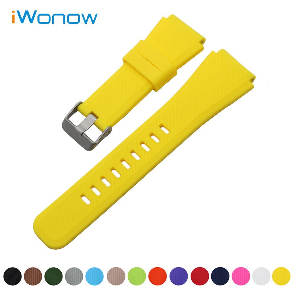Silicone Rubber Watch Band 22mm for Samsung Gear S3 Classic / Frontier Quick Release Strap Stainless Steel Buckle Wrist Bracelet 22mm silicone rubber watch band for samsung gear s3 classic frontier stainless steel buckle strap wrist belt bracelet black
