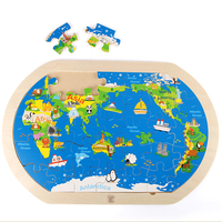 Cartoon 3D Animal Puzzle Wooden Digital Cube Educational Wood Toy Kids Puzzle IQ Montessori Jigsaw Puzzles For Children 60D0004