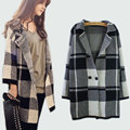 2017 New Winter Women Sweater Coat Cardigans Plaid Long Poncho Sudaderas Elegant Slim Wool Trench Coat With Pockets Plus Size