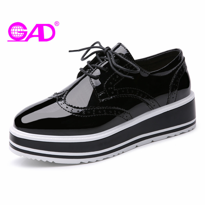 GAD Thick Bottom Women Flat Platform Shoes Fashion Design Round Toe Lace-up Women Casual Shoes British Style Women Brogue Shoes beffery women s shoes british style patent leather flat shoes fashion thick bottom platform shoes for women lace up casual shoes