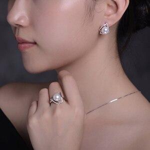 Image 4 - Sinya 925 Anello in argento sterling con 9 10mm dacqua dolce naturale della perla Gioielleria Raffinata di marca di nozze anello di Fidanzamento per le donne amante