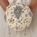 FW62 Elegant Austrian Crystal Silk Wedding Bouquets For Sale Brooch Bridal Wedding Flowers Beige Wedding Bouquet Buque de noiva