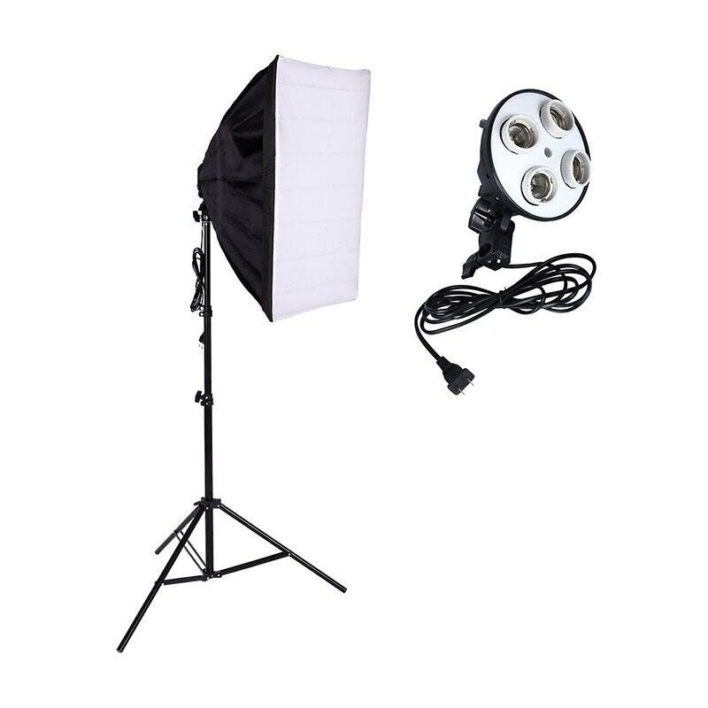 Photographie éclairage 4 douille support de lampe + 50*70 CM Softbox boîte à lumière + 2 m support de lumière Photo Studio accessoires vidéo