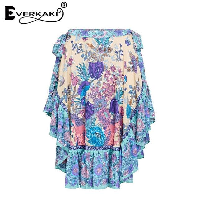 Everkaki Women Boho Flamingos Floral Tropical Print Skirt Cotton Lace Up Holiday Beach Bohemian Skirts Female 2018 Summer New