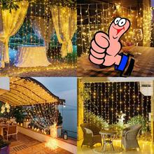 9.8*9.8ft /3m*3m 31V 300 LED Window Curtain String Light  Christmas Outdoor Indoor garland Wedding Party Home Garden Decoration