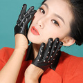 autumn winter lady rivet modal show Fashion women's genuine leather hot style dress driving motorcycle gloves Mittens