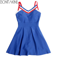 Bonitakinis Sportswear One Piece Swimsuit Conservative Bathing Dress Small Asia Size Student Lady Beachwear Swimming Wear