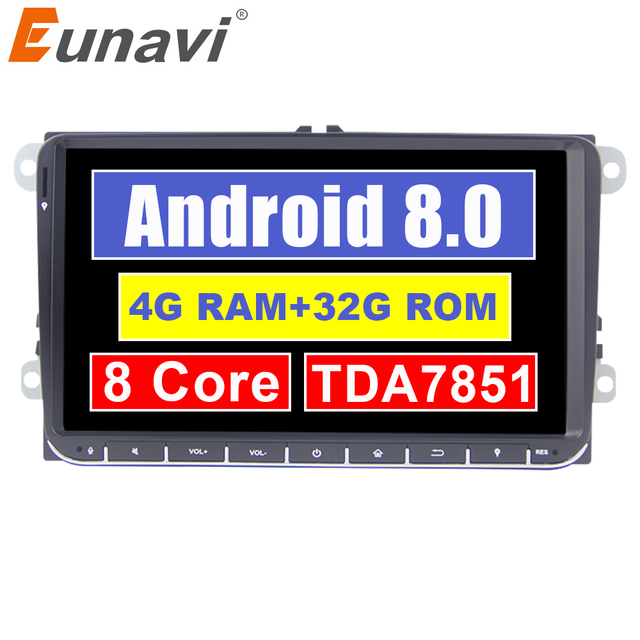 Eunavi 2 din Android 8.0 Car Radio GPS for VW Passat B6 CC Polo GOLF 5 6 Touran Jetta Tiguan Magotan Seat 9'' screen with button