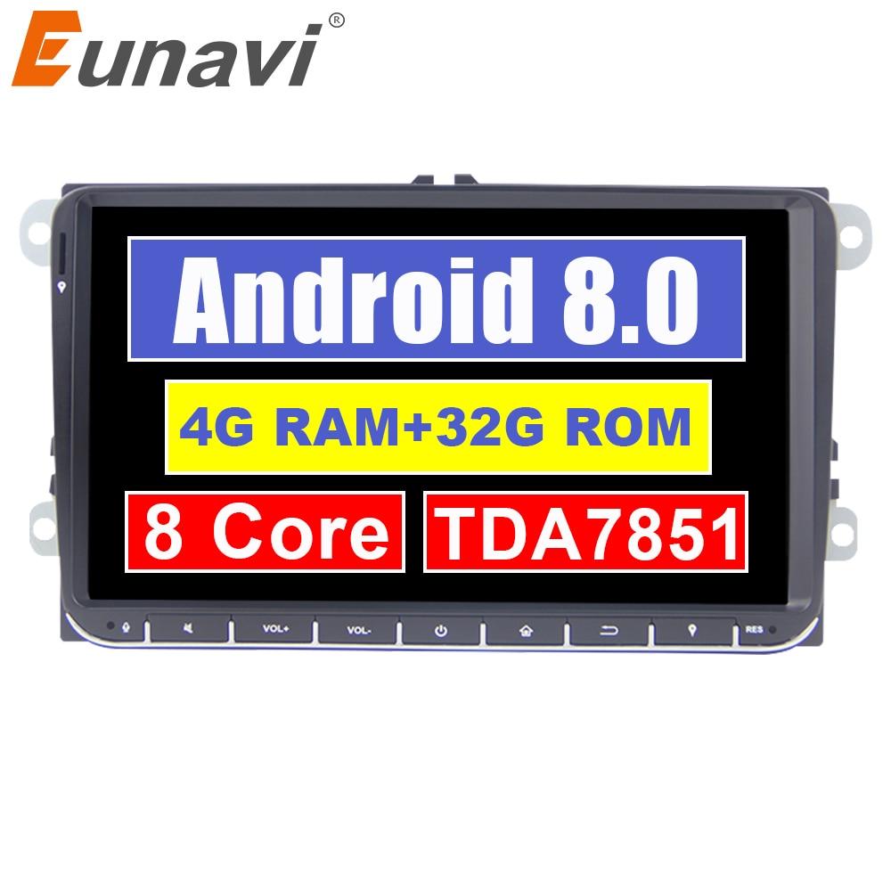 Eunavi 2 din Android 8.0 autoradio GPS pour VW Passat B6 CC Polo DE GOLF 5 6 Touran Jetta Tiguan Magotan siège 9 ''écran avec bouton