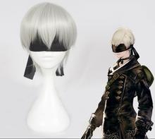 NieR: autoata 9S شعر مستعار تأثيري YoRHa No. 9 نموذج شعر مستعار الفضة مع الأسود لصقة عين تأثيري هالوين