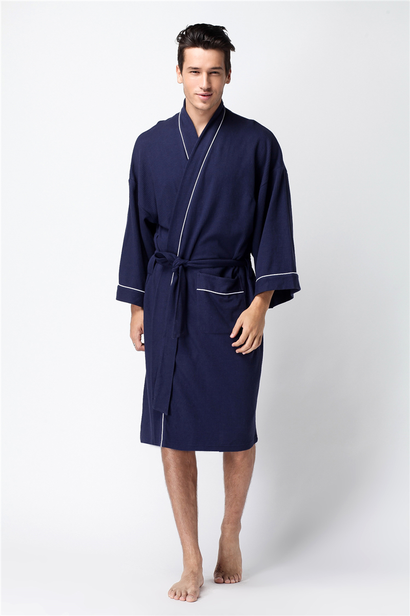 2019 COSWE Cotton Men Robe For Mens Bathrobe Black White Robes Plus ... 55c2da6d3