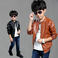 4-15Y Children clothing new spring autumn boys jacket PU leather stand collar long sleeve cardigan boys outwear coat