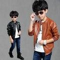 4-15Y Crianças roupa nova primavera outono meninos jaqueta de couro PU gola manga longa cardigan meninos casaco outwear