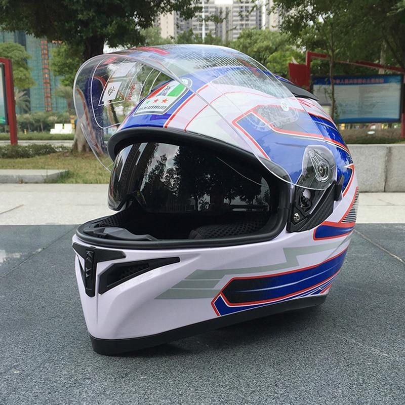 Motorcycle Helmet With Inner Sun Visor Flip Up Men And Women Modular Casco Female Capacete White Blue Double Lens Helmet