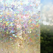3D Rainbow stained window film static cling privacy home decorative glass stickers self-adhesive pvc on table 90 x 200cm