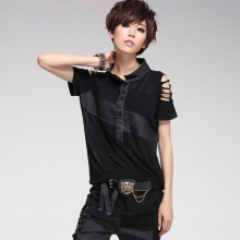Europe Streets Sexy Denim Stitching Mesh Women's T-shirt Hip-Hop 2015 New Short Sleeve T shirt Women Slim