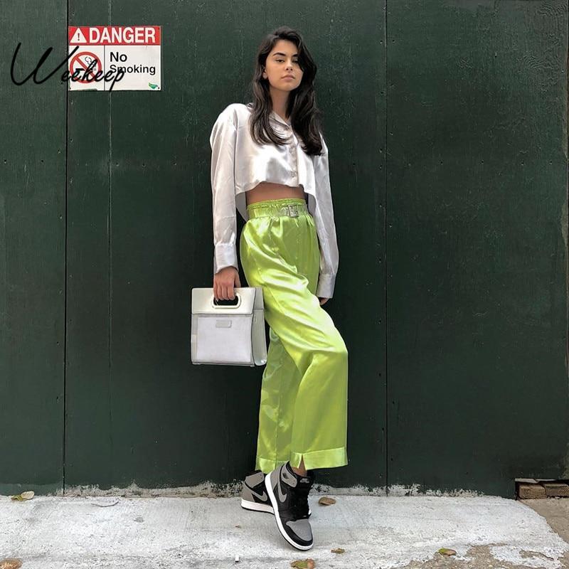 Weekeep Women High Waist Casual Pants Loose Elastic Waist Green Trousers Women 2019
