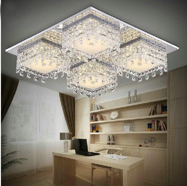 led stainless steel modern crystal ceiling light lamparas de techo luminaras for sala home decoration lighting