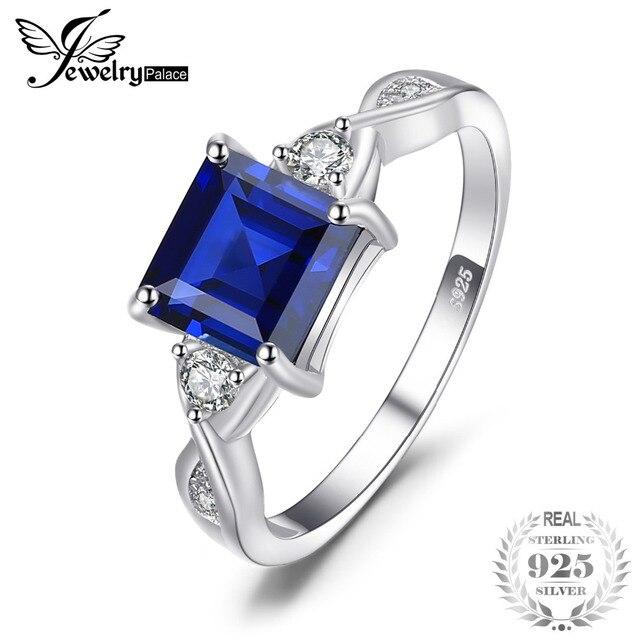 JewelryPalace Anniversary 2.3ct Created Sapphire 3 Stone Ring Genuine 925 Sterli