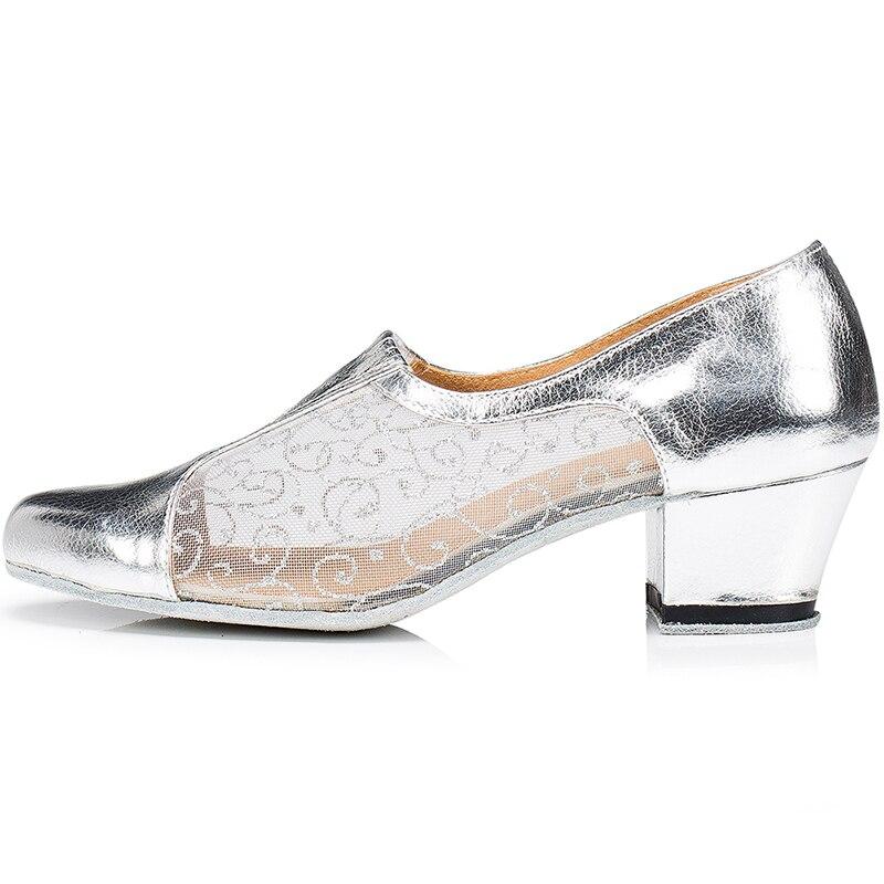 LOSLANDIFEN femmes respirant Floral dentelle pompes argent miroir chaussures de danse 5 CM talon carré Salsa Latin danse pompes chaussures de salon