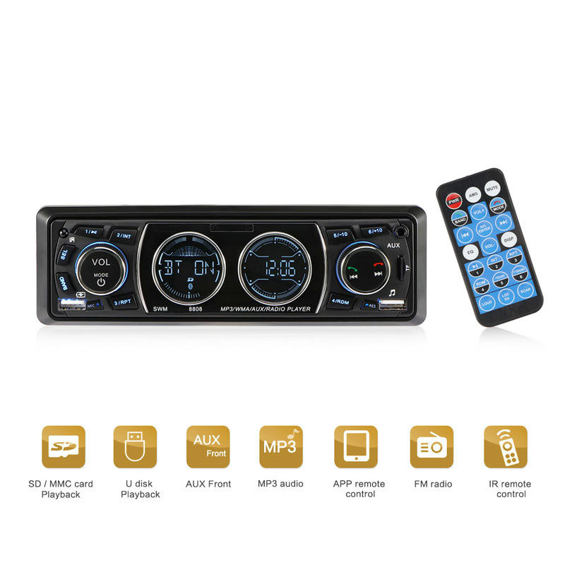 Music FM Car Radio LCD Display One Din Version Bluetooth Car MP3 Player Built-in Microphone Hands-free Support 16g/32g TF Card image