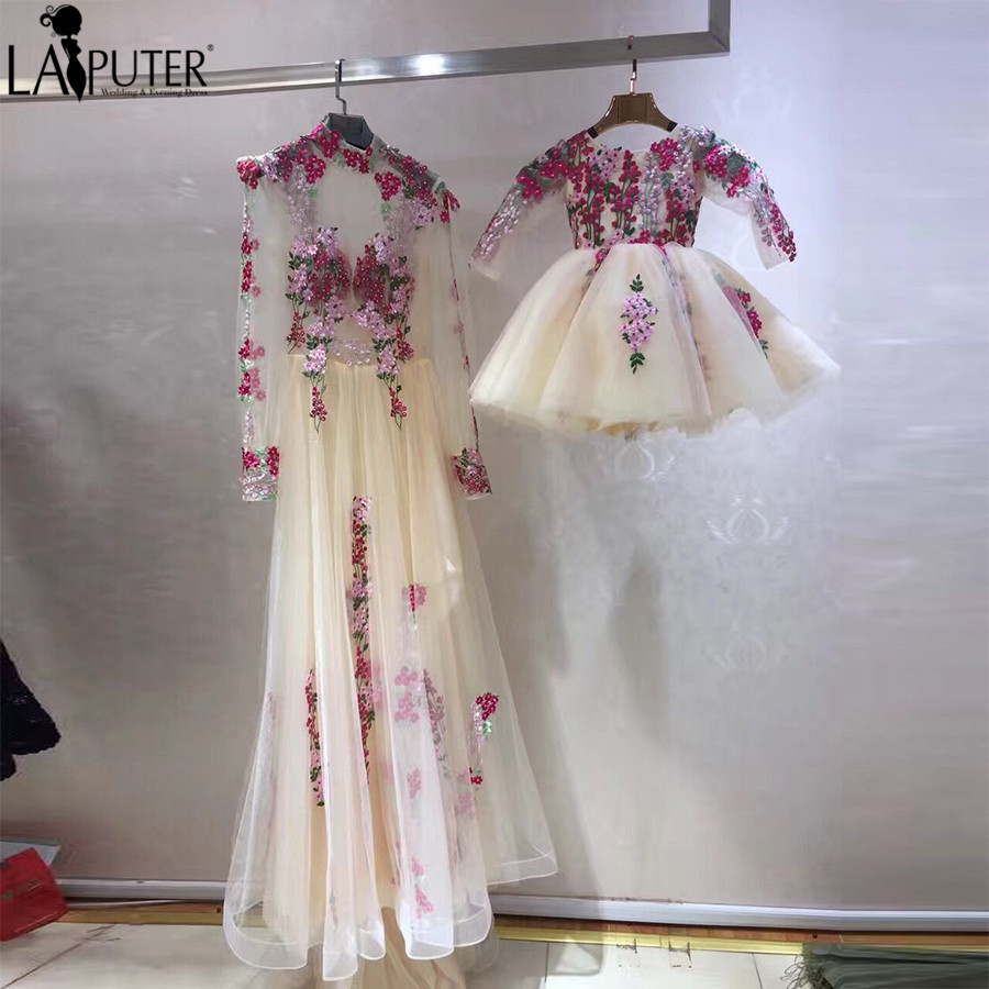 2017 Real Photos Champagne White Tulle Flowers Embroidery Lace Evening Prom Dresses Long Mother and Daughter Party Dress Formal(China)