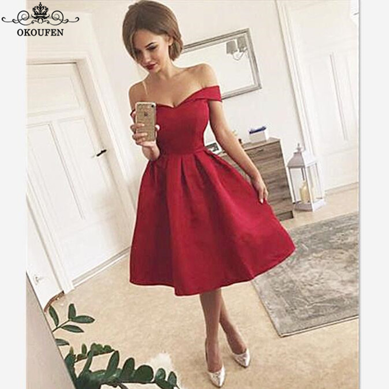 Cheap Short Knee Length   Bridesmaid     Dresses   For Women 2018 Boat Neck A Line Corset Back Party   Dress   Prom Bridal Gowns