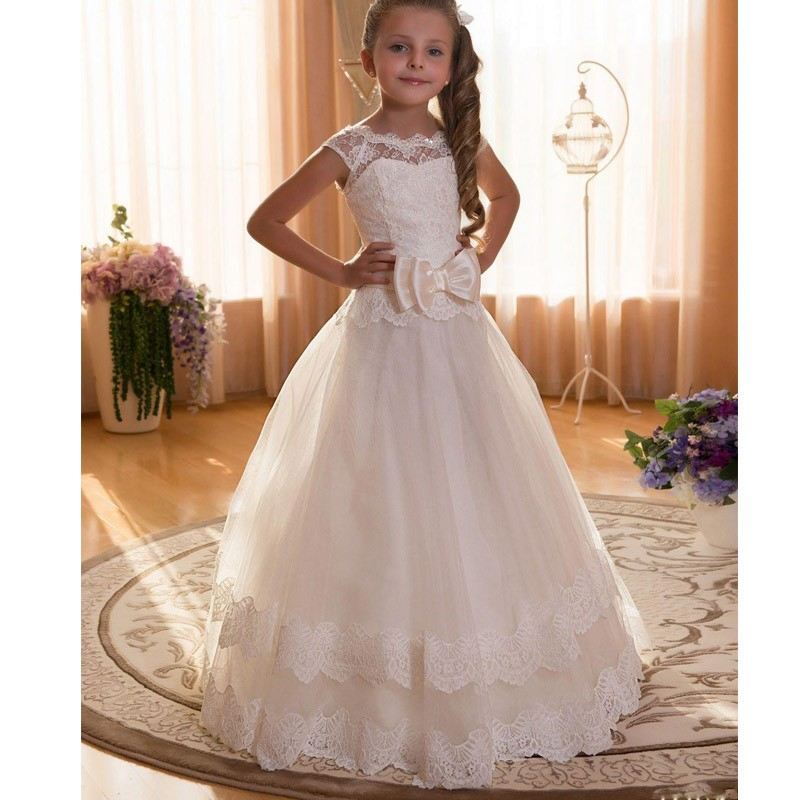 Cap Sleeves Lace Kids First Holy Communion   Dress   With Bow   Flower     Girl     Dresses   for Weddings Formal Prom   Dress   for   Girls   Baby