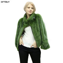 OFTBUY 2020 herbst winter jacke frauen natural real nerz mantel dicke warme Moto Biker streetwear plus größe nerz oberbekleidung
