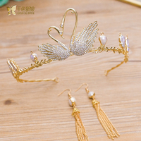 Swan Love Crown Unique Women Tiara Queen Hair Ornament Gold Jewelry Hairband Earrings Bridal Wedding Accessory