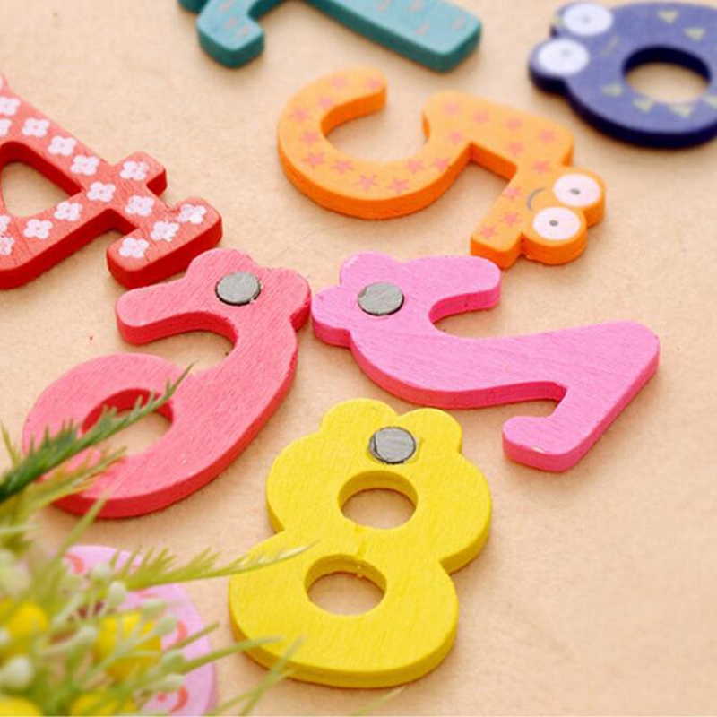 Image 3 - Wooden Digital Letter Fridge Magnets Children's Early Learning Educational Maths Toy Wooden Refrigerator fridge magnet stick-in Fridge Magnets from Home & Garden
