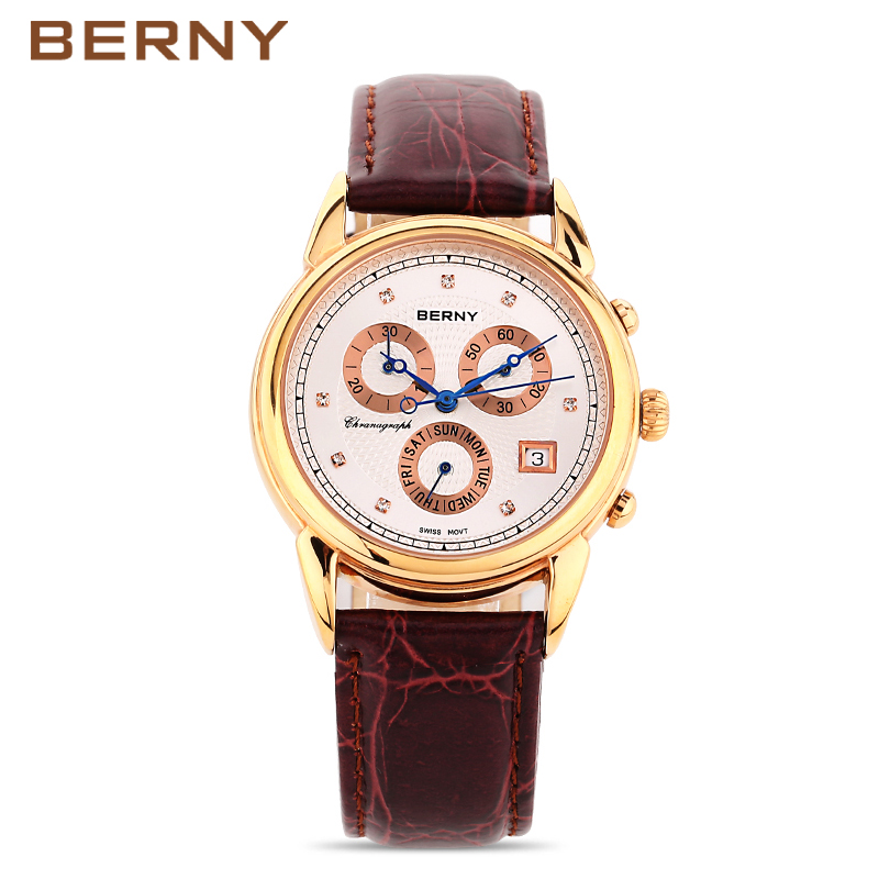Rose Gold Mens Watches Top Brand Luxury BERNY Famous Male Clock Watch Multifunction Wristwatch Quartz Watches Relogio Masculino