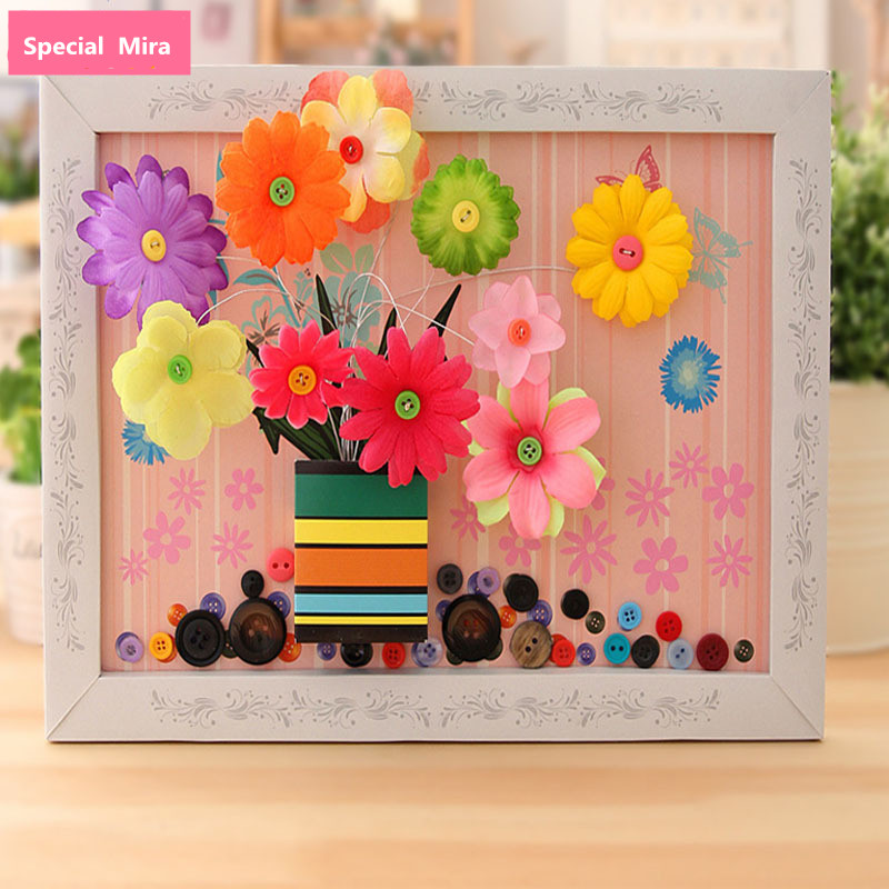 Buy 1 Get 1 Free 2pcs Holiday Gift Button Bouquet Child DIY Flower Craft Toys Creative Button Flower Arrangement Kids Craft Toy