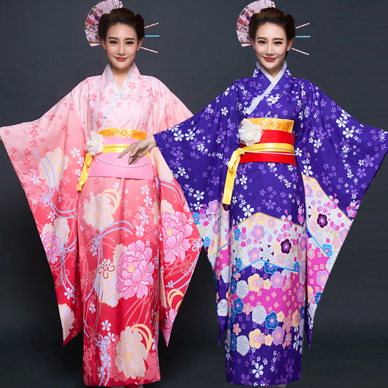 Female Cosplay Costume Japanese Traditional Kimono Floral Evening Dress Comic Perfoemance Robe Gown Lady Bathrobe Nightdress