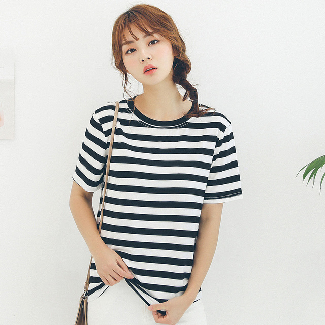 07608c612fe summer fashion women striped t shirt plus size loose fit simple all-match  ladies short sleeve o-neck casual tee shirt tops