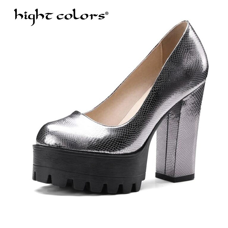 2018 New Spring Autumn 32~42 Casual High-heeled Shoes Sexy Thick Heels Platform Pumps gold silver gray pink black beige PP-53 new casual high heeled shoes sexy ruslana thick heels platform pumps women pump thick heel platform shoes black white shoes size