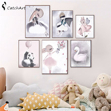 Nordic Watercolor Cartoon Unicorn Deer Rabbit Girl Canvas Painting Flower Poster Swan Wall Pictures Kids Room Home Decoration(China)