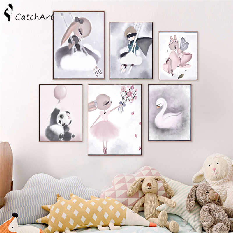 Nordic Watercolor Cartoon Unicorn Deer Rabbit Girl Canvas Painting Flower Poster Swan Wall Pictures Kids Room Home Decoration