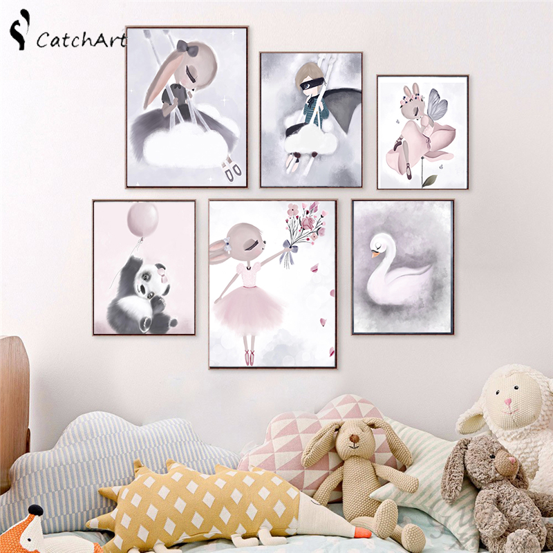>Nordic <font><b>Watercolor</b></font> Cartoon Unicorn Deer Rabbit Girl Canvas Painting Flower Poster Swan Wall Pictures Kids Room <font><b>Home</b></font> Decoration
