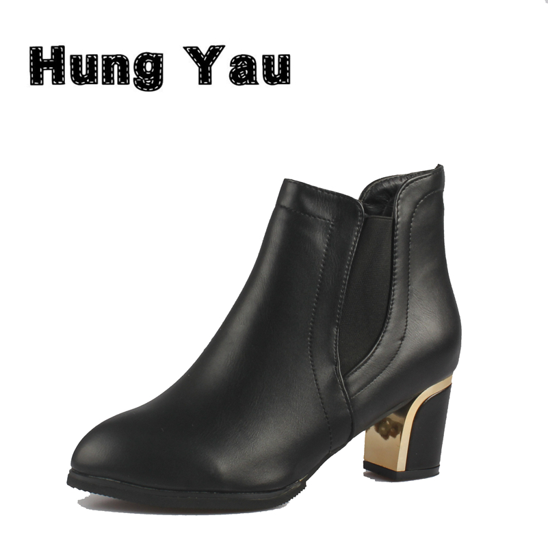 Hung Yau Designer Women Boots High Heel Ankle Boots Martin Black Boots For Women Spring Autumn Thick Heels Shoes Plus Size 9