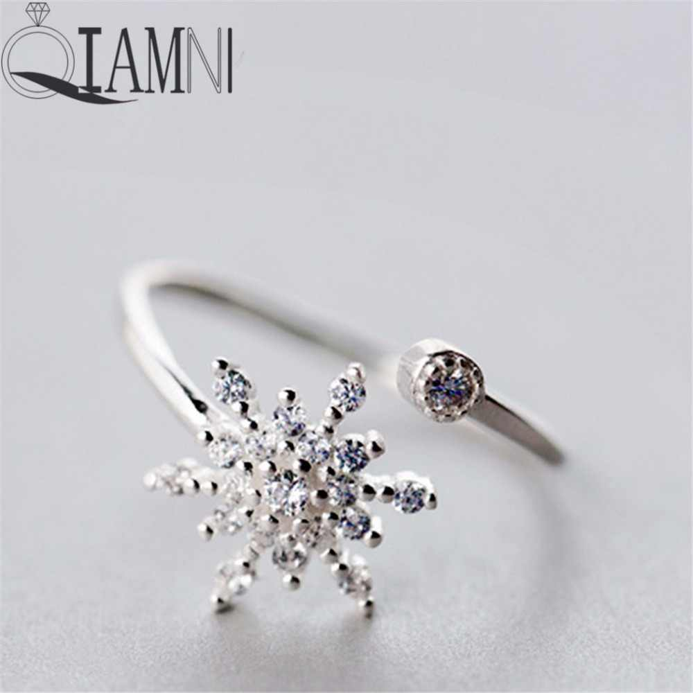 QIAMNI  Shining Unique Snowflake Crystal CZ Open Ring Christmas Jewelry for Women Girls Charm Birthday  Gift