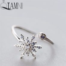 57476b641 QIAMNI 925 Sterling Silver Shining Unique Snowflake Crystal CZ Open Ring  Christmas Jewelry for Women Girls Charm Birthday Gift