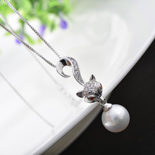 The new 925 Sterling Silver Fox Necklace female pearl sweater chain pendant jewelry accessories a Korean clavicle
