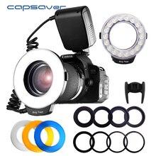 Capsaver 18 PCS SMD LED Macro Ring แฟลชสำหรับ Pentax Canon Nikon SONY Olympus Panasonic SPEEDLITE จอแสดงผล LCD CRI 90 RF 600D