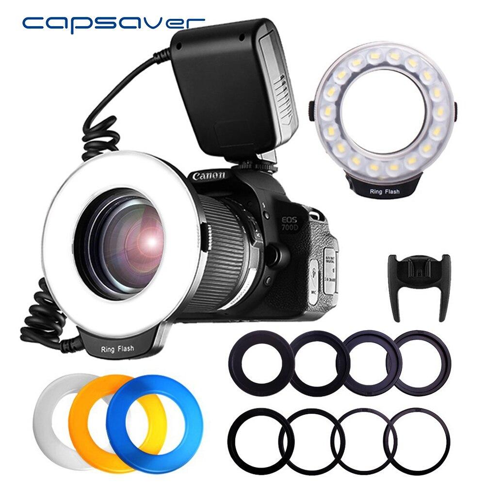 Capsaver 18 piezas SMD LED Macro anillo Luz de Flash para Pentax Canon Nikon Sony Olympus Panasonic Speedlite pantalla LCD CRI 90 RF-600D