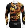 2016 Spring Fall High Quality China Style Leisure  Men Dragon China Corlorful  Print Pullover Sweater Business Slim Fit Tops Tee